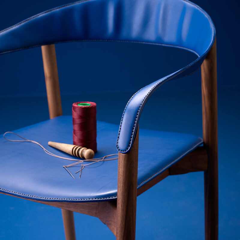 Detalle de tapizado de la silla Stella de Patrick Frey para Freifrau