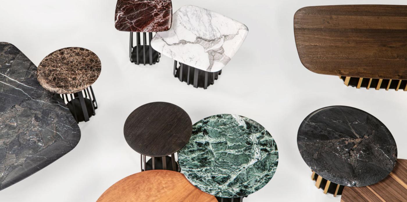 Janua, muebles de maestros y artesanos. Encimeras de mármol para mesas Basket.